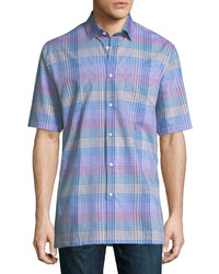 Neiman Marcus Classic Fit Regular Finish Short Sleeve Cotton Grid Shirt