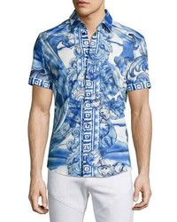 0ae53d80 ... Versace Collection Watercolor Baroque Short Sleeve Sport Shirt Blue