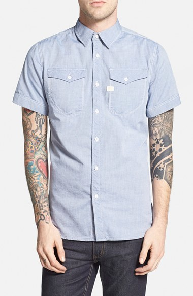 42c7f6b0ff G Star G Star Raw Tacoma Extra Trim Fit Short Sleeve Oxford Shirt ...