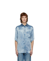 Balenciaga Indigo Satin Acid Wash Shirt