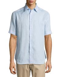 Brioni Short Sleeve Linen Shirt Light Blue