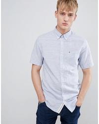 Tommy Hilfiger Short Sleeve Slim Fit Shirt Icon Stripe Detail Flag Logo In Blue Marl