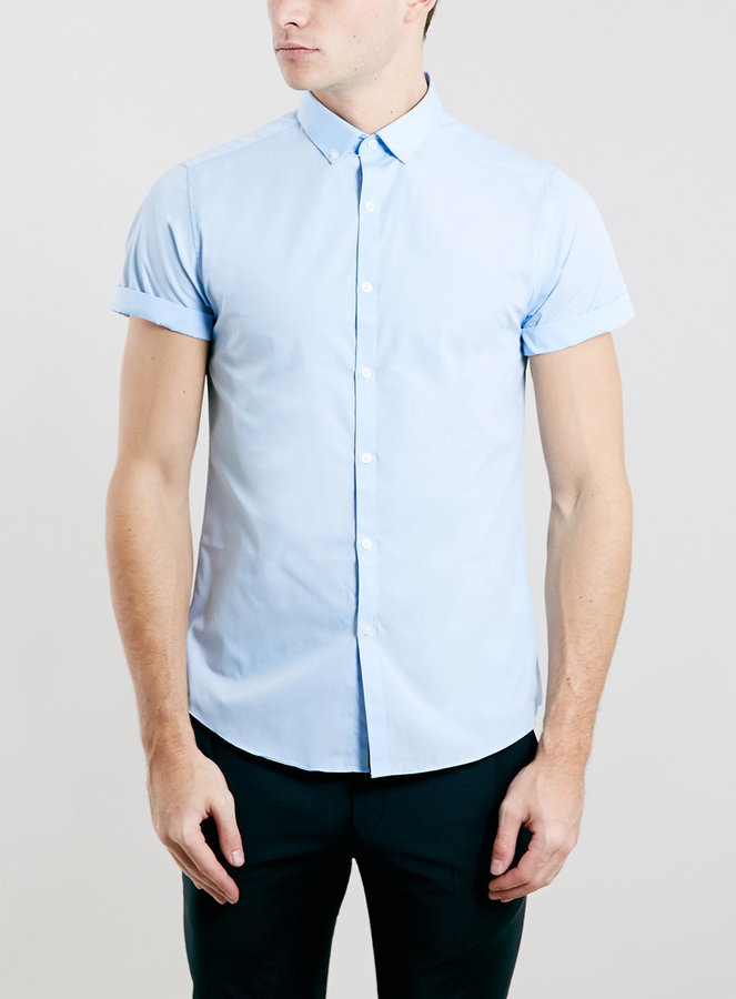 Topman Light Blue Button Down Short Sleeve Dress Shirt | Where to ...