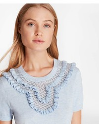 Brooks Brothers Ruffled Pointelle Yoke Sweater