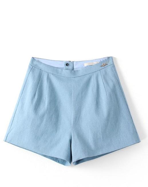 3164a6a4f7 ChicNova High Waist Cotton Texture Blue Denim Shorts, $18 | ChicNova ...