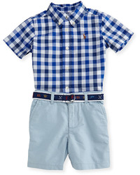 Ralph Lauren Childrenswear Gingham Poplin Shirt W Belted Shorts Blue Size 9 24 Months