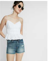 Express High Waisted Removed Waistband Raw Cut Shorts