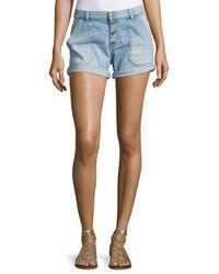 Mira button front shorts light blue medium 4123477