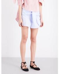 Vivetta Self Tie Striped Cotton Shorts