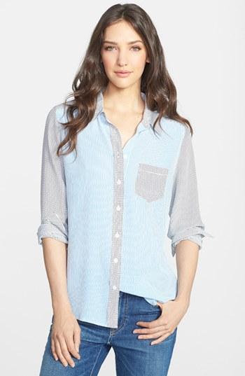 Equipment Brett Mixed Stripe Silk Shirt Klein Blue Small