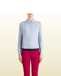 Gucci Light Blue Silk Straight Shirt