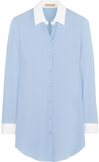 9a81e012b45fe ... Blue Silk Button Down Blouses Michael Kors Michael Kors Silk-georgette  shirt