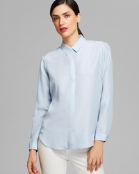 689b9813fc Light Blue Silk Button Down Blouses for Women | Women's Fashion ...