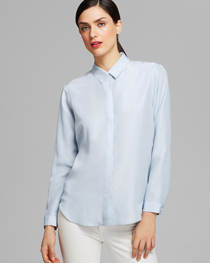 bd92eb0af5f96 ... Blue Silk Button Down Blouses Theory Shirt Aquilina Paradise Habotai