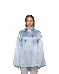 Acne Studios Blue Satin Suzette Fluid Shirt