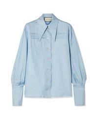 Gucci Pintucked Silk Tte Shirt