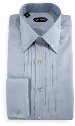 9059fca9c2c ... Tom Ford Pleated Silk Tuxedo Shirt Light Blue ...