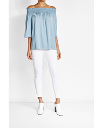 Theory Silk Off The Shoulder Top
