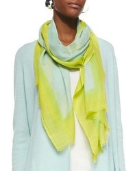 Eileen Fisher Neon Borders Silk Wool Scarf Pale Aqua