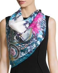 Givenchy Square Paradise Flower Silk Chiffon Scarf Bluepink