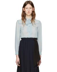 Miu Miu Blue Silk Ruffle Shirt