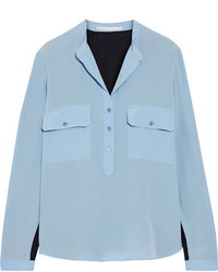 Stella McCartney Estelle Two Tone Silk Crepe De Chine Shirt Light Blue