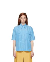 Stella McCartney Blue Silk Button Detail Shirt