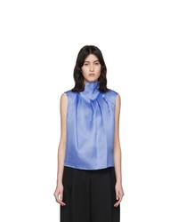 Nina Ricci Blue Silk Ruffle Neck Tank Top