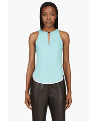 Rag and Bone Rag Bone Aqua White Silk Droptail Ashlee Top