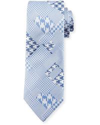 Robert Graham Crowdy Patchwork Silk Tie Blue
