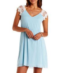 Charlotte Russe Cap Sleeve Lace Gauze Dress