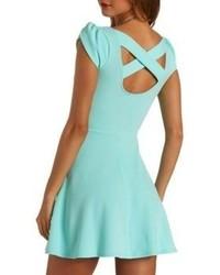 Charlotte Russe Textured Tulip Sleeve Skater Dress