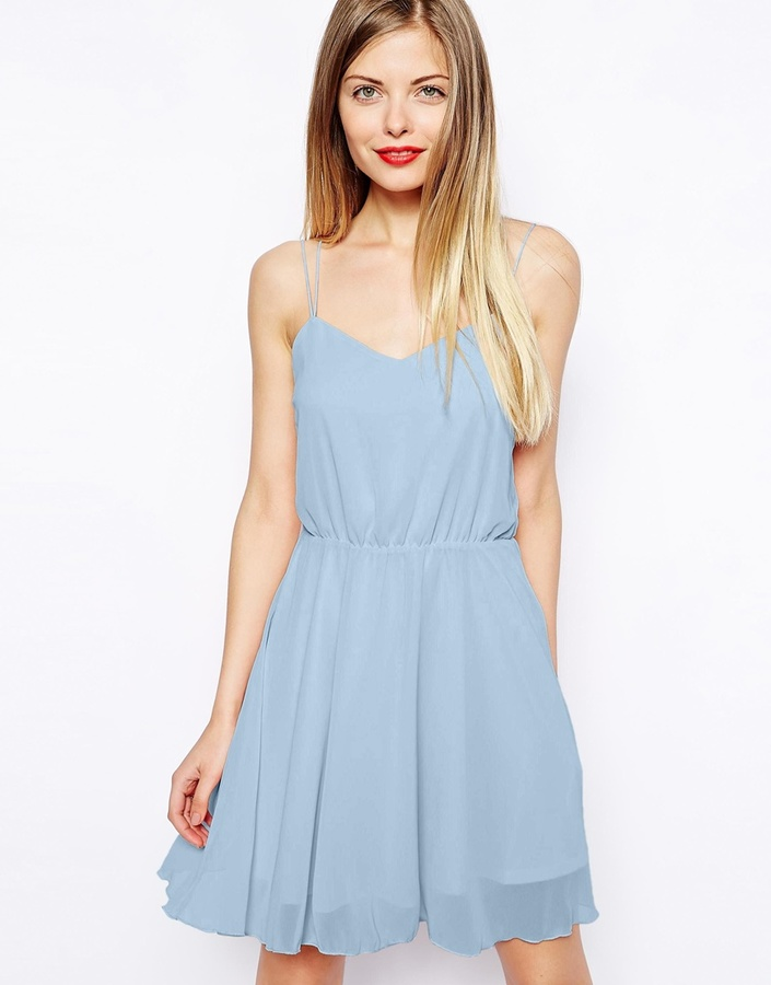 d4f022bbc8 ... Light Blue Skater Dresses Asos Collection Chiffon Cami Skater Dress ...