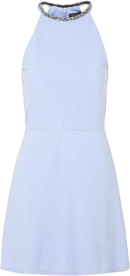 Topshop Embellished Neck Skater Dress Where To Buy How To Wear