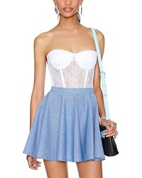 ChicNova Blue Cotton Skater Skirt With Side Zipper