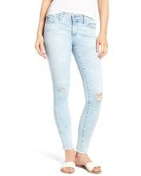 Women's Grey Leopard Oversized Sweater, Light Blue Skinny Jeans ...