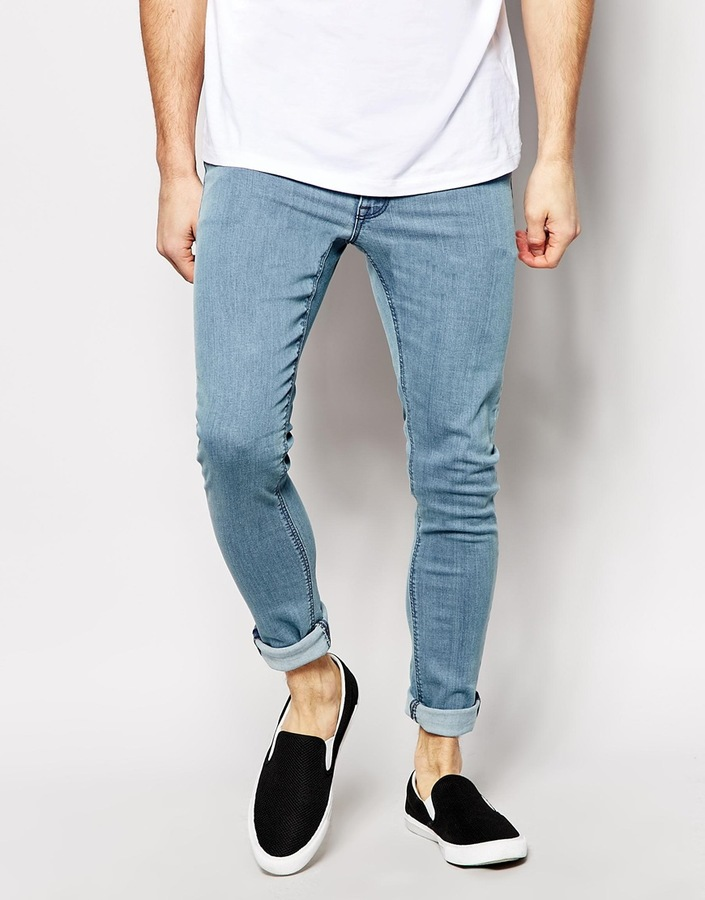Extreme Super Skinny Jeans In Light Wash - Light blue Asos 6CAHEZ06E1