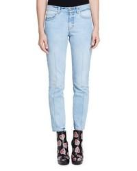 Alexander McQueen Bleached Denim Skinny Jeans Light Denim