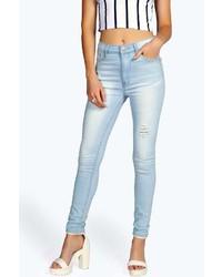 Boohoo Camilla Light Wash Distressed Skinny Jeans
