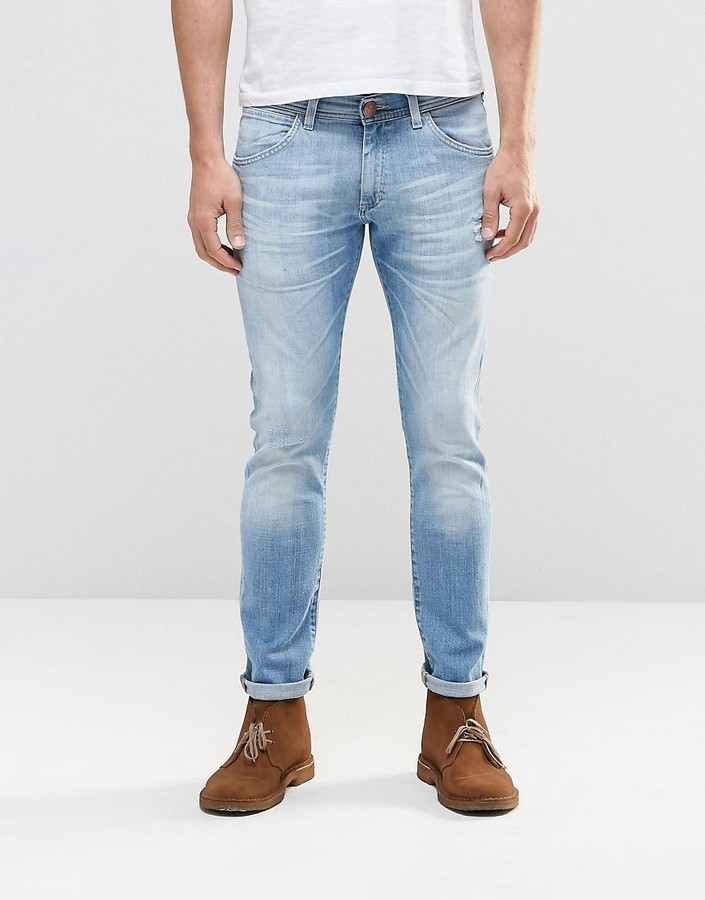 most reliable enjoy big discount new york $122, Wrangler Bryson Skinny Jean Sandstorm Light Distressed Wash