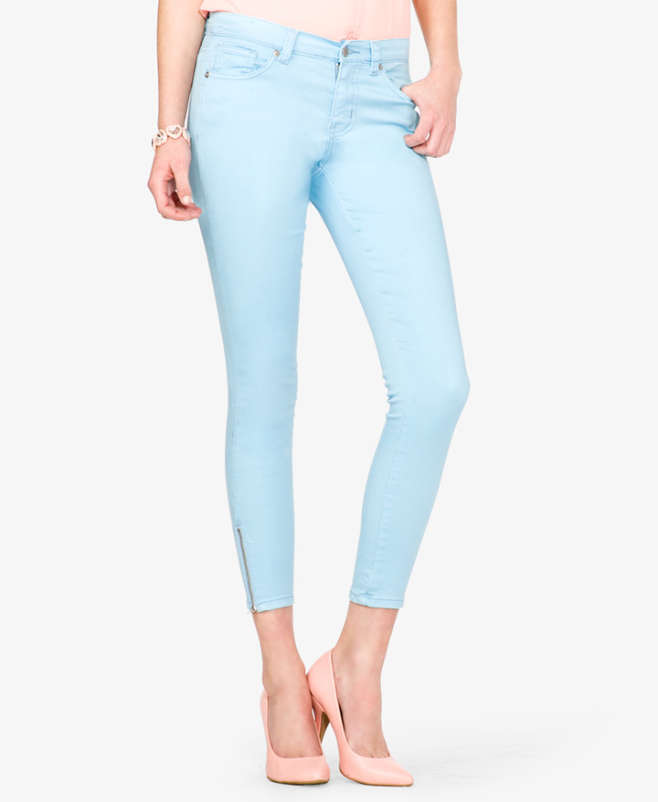 Forever 21 Colored Zippered Skinny Jeans | Where to buy & how to wear