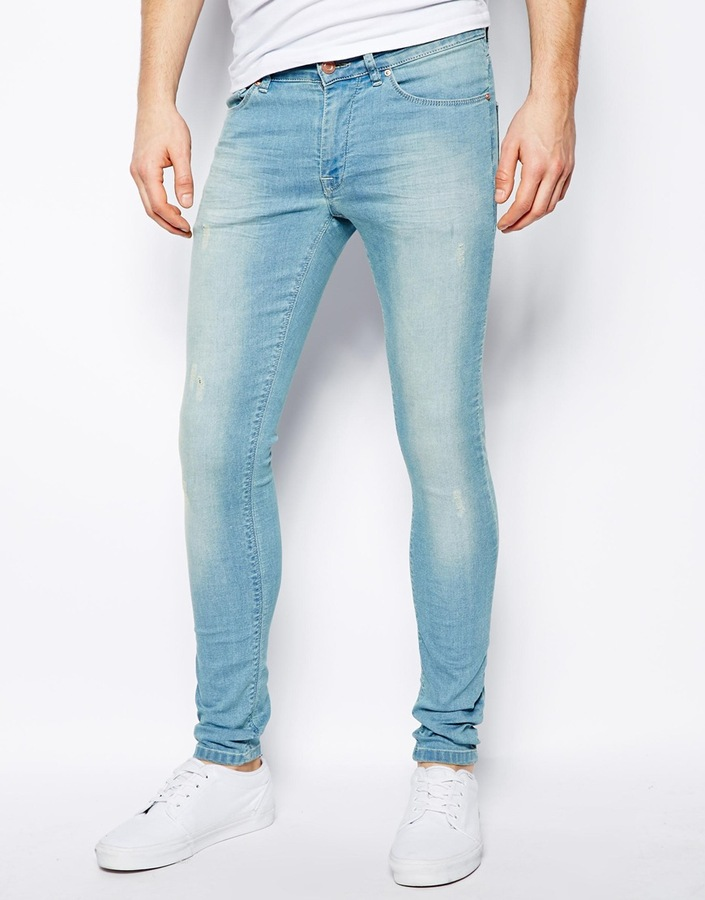 Asos Extreme Super Skinny Jeans In Light Wash Blue | Where to buy ...