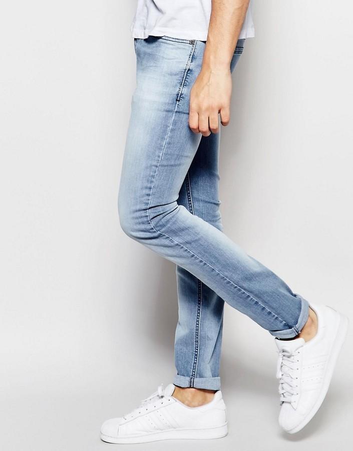09af364c Diesel Jeans Sleenker 673e Skinny Fit Stretch Light Blue Wash, $205 | Asos  | Lookastic.com