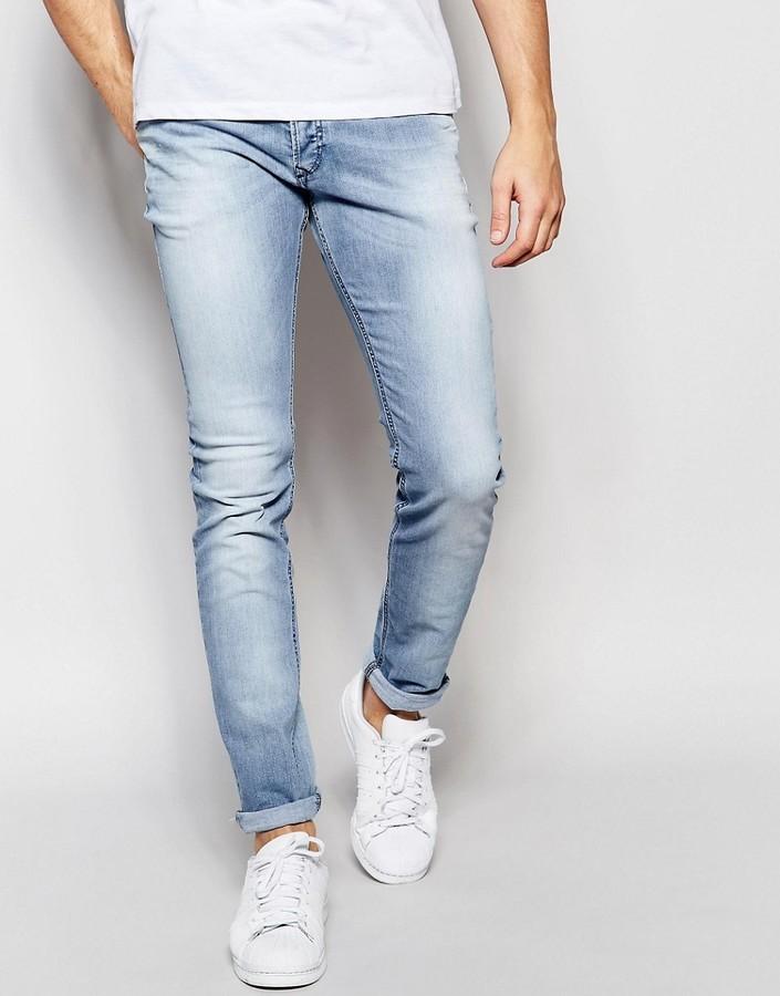Weg sparen Turnschuhe große Auswahl $205, Diesel Jeans Sleenker 673e Skinny Fit Stretch Light Blue Wash