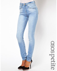 Asos Petite Ridley High Waist Ultra Skinny Jeans In Ice Blue Vintage Wash