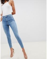 ASOS DESIGN Ridley High Waist Skinny Jeans In Pretty Mid Stonewash Blue