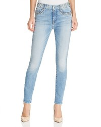 7 For All Mankind Studded Skinny Jeans In Stud Light Blue