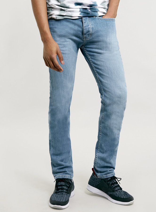 Topman Light Powder Blue Stretch Skinny Jeans | Where to buy & how ...