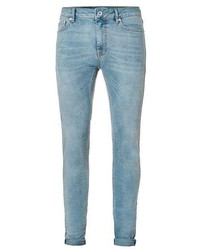 Topman Light Wash Blue Spray On Skinny Jeans