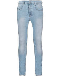 Topman Light Wash Marbled Stretch Skinny Jeans